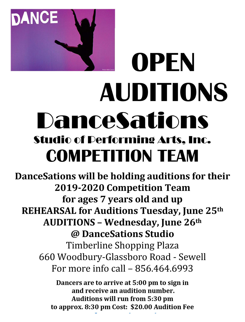 Dancesations Competition Team Audition 2019